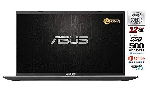 Asus Vivobook SLIM, SSD da 500 Gb, Cpu Intel i5 di 10th GEN. 4 Core, 12Gb DDR4, Display da 15,6 FULL HD, wi-fi, 4 Usb, Bt, Sk Video Intel UHd 620, Win 10 pro, Office 2019, Pronto All'uso Gar. Italia
