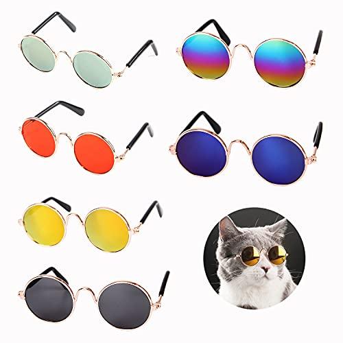 ArtnIndia 6 peças de óculos de sol para cães e gatos, 6 cores, redondo, metal, resina, clássico, retrô, moderno, legal, fofo, divertido, fantasia de cosplay, acessório para foto, festa de animal de estimação