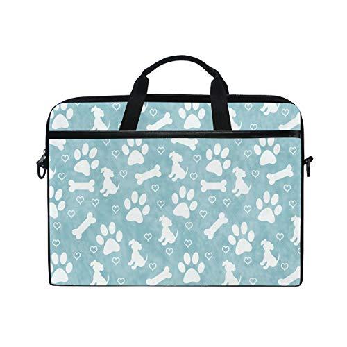 HaJie - Funda para ordenador portátil con estampado de huellas de perro de 14 a 14,5 en bolsa de protección, maletín de viaje con correa para el hombro para hombres, mujeres, niños y niñas