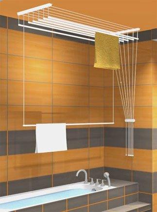Etend'mieux® - Stendibiancheria da appendere al soffitto, 5 barre, 49 cm x 120 cm, capacità stenditoio: 6 m