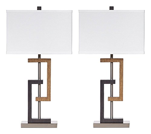 Signature Design by Ashley - Syler Faux Wood Table Lamp - Contemporary Rectangular Shades - Set of 2 - Brushed Silver