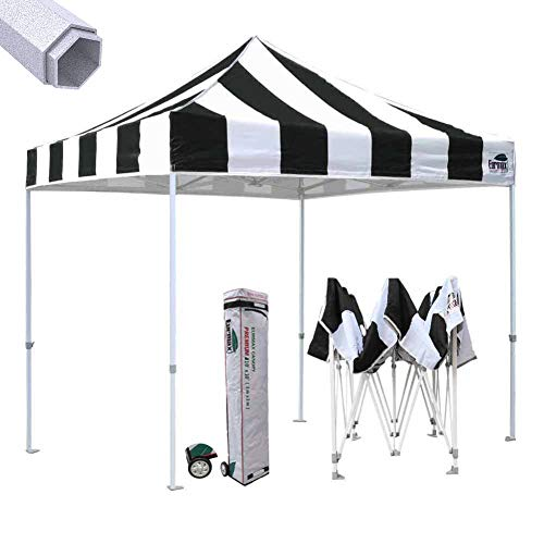 Eurmax Premium 10'x10' Ez Pop-up Canopy Tent Commercial Instant Canopies Shelter with Heavy Duty Wheeled Carry Bag (Striped Black)