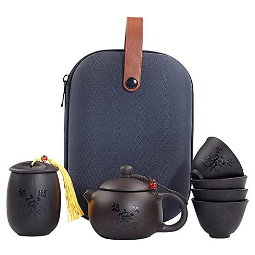 Uioy Juego de té Chino de Kung Fu con Bolsa de Viaje, Juego de té de cerámica portátil con 4 Tazas de té y tapete de té, para Viajes, hogar, Oficina al Aire Libre (Color : A)