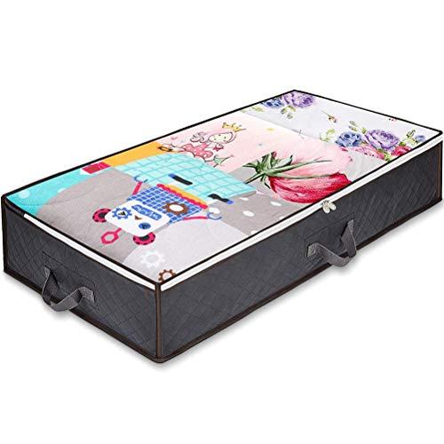 Kagodri Bolsa de almacenamiento para debajo de la cama, 100 l de gran capacidad transpirable no tejido caja de almacenamiento, ropa de cama, manta, almohada, colcha, organizador de ropa