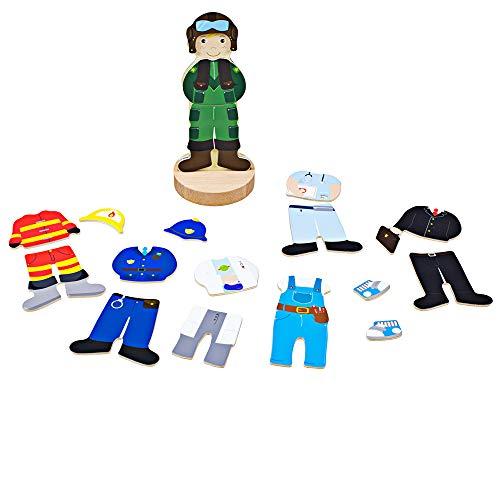 Bigjigs Toys Profesiones de madera del juego del mag | Dress Up Character