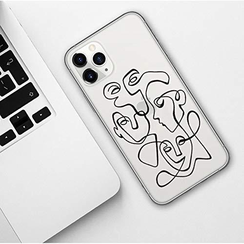 KESHOUJI Carcasa de teléfono de Dibujos Animados Abstractos de Cara Divertida para iPhone 11 Pro MAX X XR XS MAX 5S 6 6S 7 8 Plus Funda de Moda de TPU Suave para iPhones 11, TPU10, para iPhone XS MAX