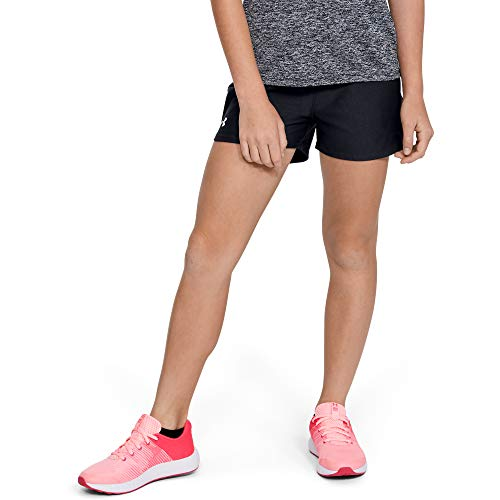 UNDER ARMOUR girls Play Up Workout Gym Shorts, Black (001)/White, Youth Small