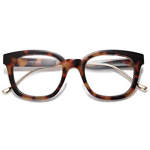 SOJOS Klassisch Quadratische Blaulichtfilter Brille Retro Computer-Brille SJ5060 mit Demi Rahmen/Anti-Blaulicht Linse