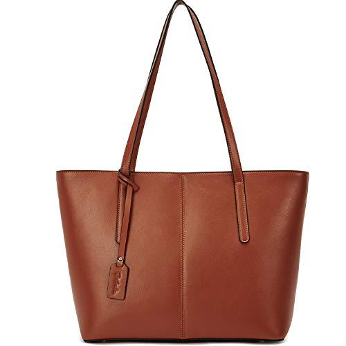 BOSTANTEN Damen Leder Handtasche Schultertaschen groß Shopper Taschen Designer Henkeltaschen Braun