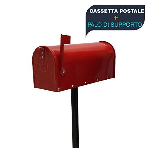 Cassetta della posta Americana topolino con supporto palo metallico cassetta postale topolino buca delle lettere US mail casella postale stile americano completa di supporto