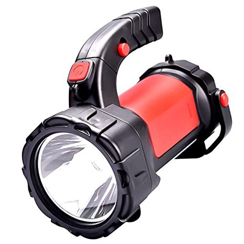 EUPEFIST Linterna con Foco LED de Mano superbrillante con 5 W de Potencia, luz de búsqueda con Carga USB Potente Linterna Marina Impermeable para Acampar (Rojo)