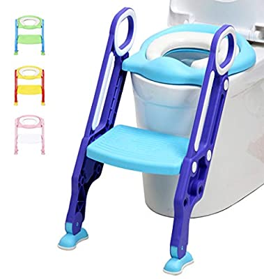 LANGXUN Potty Training Seat with Ladder for Boys and Girls,Baby Toddler Toilet Training Seat with Soft Toilet Seat and Sturdy Step Stool Ladder and Non-Slip Wide Step