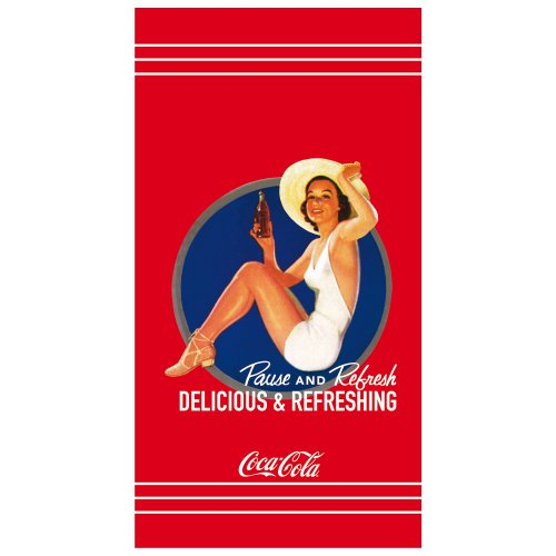 CTI 041411 Toalla de Playa Coca Cola Pin Up, Terciopelo de Algodón, 85 x 160 cm