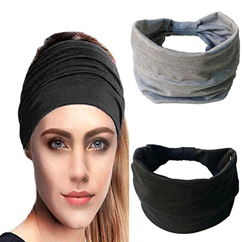 IYOU Diademas anchas para mujer Bandas de pelo anudado Banda de sudor negro Diadema de algodón para mujeres y niñas (paquete de 2)