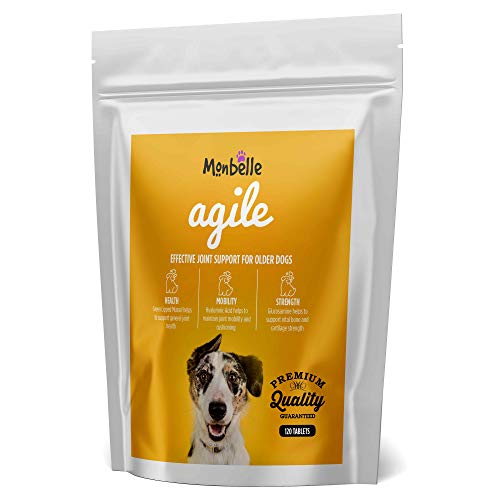 Monbelle Dog Joint & Agility 120 Tablets - Soothes Hip, Lipped Muscle & Joints Supplement for Stiff Dogs & Aids Mobility - Glucosamine & Natural Chondroitin for Dog Joint Care - UK Manufactured