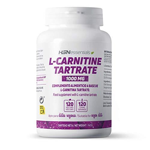 L-Carnitina Tartrato de HSN | 3000 mg por Dosis Diaria | Alta Biodisponibilidad + Pérdida de peso + Mayor Energía + Rendimiento + Recuperación | Vegano, Sin Gluten, Sin Lactosa, 120 Cápsulas Vegetales