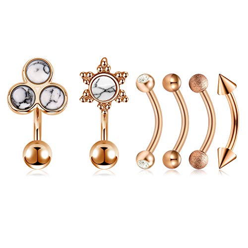 Mayhoop 6Pcs 16G Rook Earrings Surgical Steel Rose Gold with Marble Curved Bar Barbell Daith Conch Earrings Piercing Jewelry