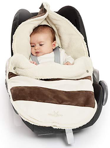 Wallaboo Fußsack, 0-12 Monaten, Universal für Babyschale, Autositz, z.B. für Maxi-Cosi, Römer, für Kinderwagen, Buggy oder Babybett, Farbe: Getreift Braun