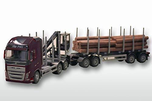EMEK EM71303 - Volvo FH16 Holzanhängerzug, 3-achs Zugmaschine, schwarzes Fahrerhaus, mit Kran, 4-achs. Hänger mit Baumstämmen, Maßstab 1:25