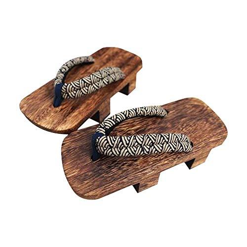 G-LIKE Japanische Clogs Sandalen Holzschuhe - Traditionelle Japanische Stile Heian Periode Geta Pantoffel Sommerschuhe Cosplay Samurai rutschfest Flip-Flops für Frauen Männer - Holz (42-43, Blau)