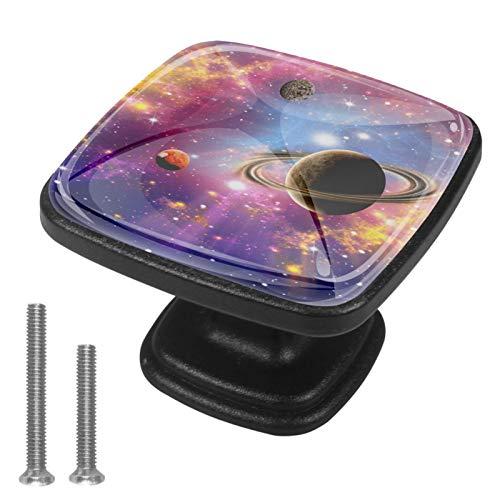 Universe Stars And Star Systems Tiradores de cajón Manija Armario Perillas de gabinete 4 Uds para decorar tocador de cocina del hogar