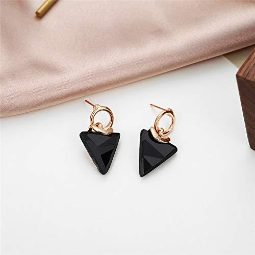 Burenqi Pendientes Joyería De Moda Triángulo Stud Pendiente para Las Mujeres Diseño Simple Pendiente De Color Negro Regalo Niñas Oreja Jelwelry