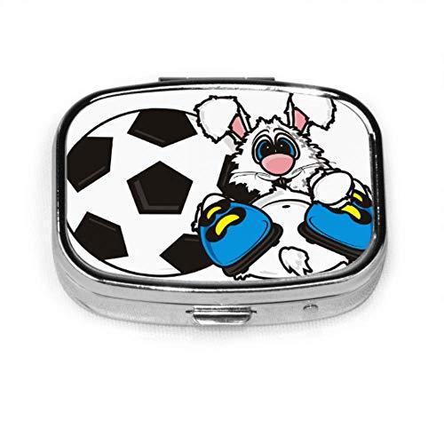 Häschen-Fußball-Fußball-Tagespillen-Kasten-Medizin-Kasten-Kasten-Tabletten-Halter-Geldbörsen-Organisator-Kasten für Tasche oder Geldbeutel