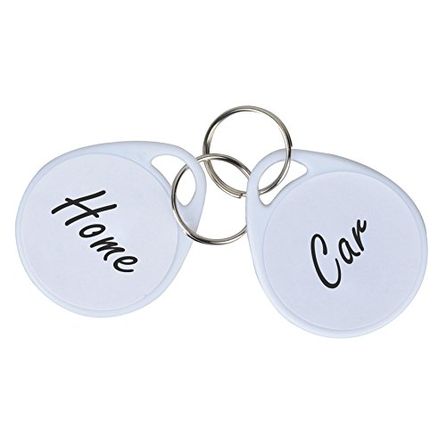 Uniclife 50 Pack Plastic Key Tags with Split Ring Label White