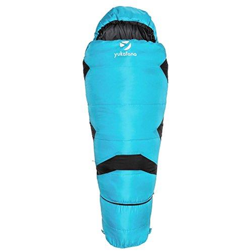 Yukatana Pjanda Sky Blue Edition - Schlafsack, Mumienschlafsack, Camping-Schlafsack, Sleeping Bag, Outdoor, H4-Hohlfaserfüllung, bis -5 °C, eingepackt: 25 x 35 cm, 1 kg