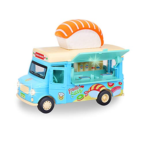 nimo Alloy Car Toy Pull Back Vehicle Functional Food Truck with Music&Light Die Cast Home Decor Model Vehicle Openable Doors&Awning Friction Car Toys for Kids Age 3+ Sushi Truck