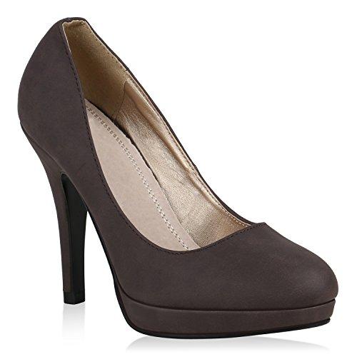 Klassische Damen Schuhe Pumps Stilettos Business Plateau High Heels 157811 Dunkelbraun 39 Flandell