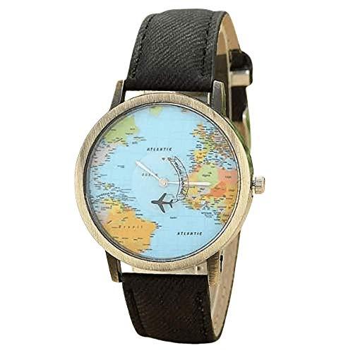 Relógio Pulso Mapa Mundi Viagem Aviãozinho Junqiao (Preto)