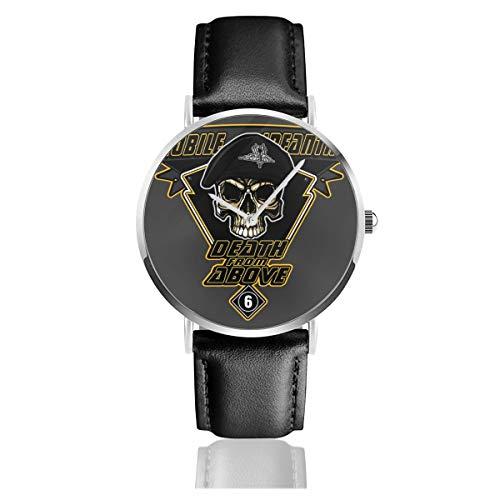 Unisex Business Casual Death from Above Mobile Infanterie Raumschiff Troopers Uhren Quarz Leder Uhr mit schwarzem Lederband für Männer Frauen Junge Kollektion Geschenk
