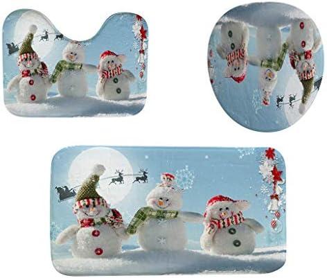 Iusun Bathroom Rug Set 3PCS Christmas Light Series Printing Decoration Non Slip Toilet Cover product image