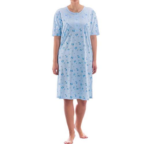 Zeitlos Nachthemd kurzarm mit floralem Druck (M, Hellblau )