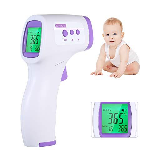 Roloiki Termômetro infravermelho sem contato LCD digital de alta precisão termômetro digital IR Termômetro de testa Corpo/objeto Medidor de temperatura para bebês adultos com 16 grupos