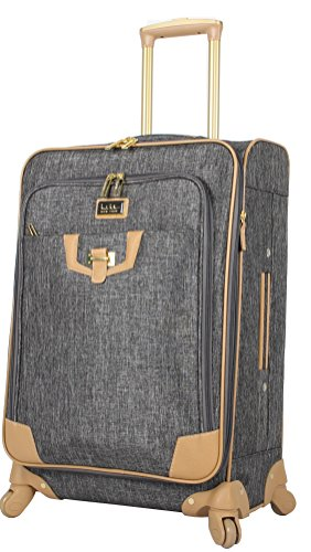 Nicole Miller Designer Luggage Collection - Expandable 24 Inch Softside Bag - Durable Mid-sized Lightweight Checked Suitcase with 4-Rolling Spinner Wheels (Paige Silver)