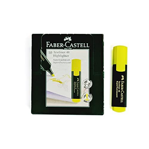 Faber-Castell 154807 - Caja con 10 marcadores fluorescentes Textliner 48, color amarillo