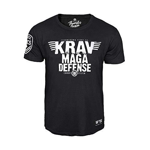 Thumbs Down Krav MAGA Defense T-Shirt. Combat System. MMA. Kampfkünste. Gym. Training. Martial Arts. Casual, Schwarz, L