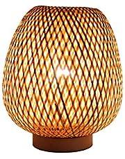 LTongx Retro stijl lantaarn tafellamp bamboe lampenkap, slaapkamer woonkamer bureaulamp bedlampje theehuis eetkamer bamboe bureaulamp, E27