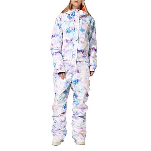 1-delige skipak voor dames, ski-onesie, jumpsuits winterbroek voor sneeuwsport, sneeuwkleding, winddicht, waterdicht.