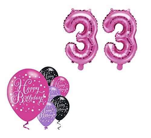 Feste Feiern Party-Deko 33. Geburtstag Schnapszahl 8 Teile Set Zahlenballon Luftballon Folie Zahl 33 Pink Schwarz Lila metallic Dekoration Happy Birthday Jubiläum