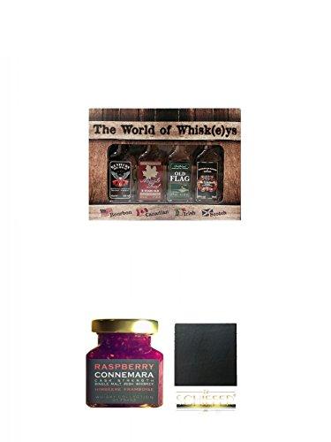 The World of Whiskey Collection 4 x 4cl + Connemara Irish Whisky Himbeer Marmelade 150g im Glas + Schiefer Glasuntersetzer eckig ca. 9,5 cm Durchmesser