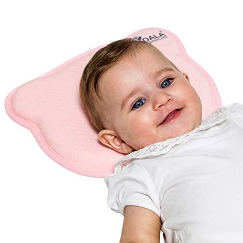 Cuscino Neonato Plagiocefalia Sfoderabile (con due Federe) per la Prevenzione e Cura della Testa Piatta in Memory Foam - Rosa - Design Registrato KBC®