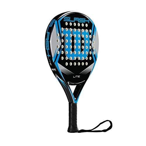 Wilson Padel-Schläger, Slash Lite, Unisex, schwarz/blau, EVA-Kern/Fiberglas, 335 Gramm, Auch für Beach-Tennis geeignet, WRT969200