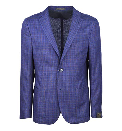 Corneliani - Uomo Giacca Blazer Check Blu 100% Seta 81-16225/03 XY73 9...