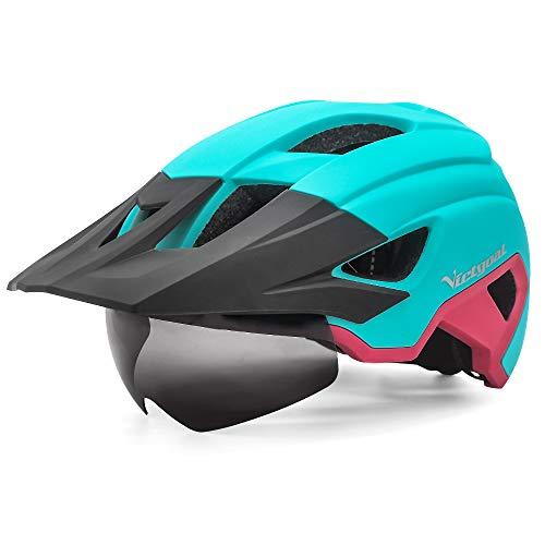 VICTGOAL Casco Bicicleta Adulto MTB Casco con Luz LED Trasera con Gafas Magnéticas Visera Extraíble Casco Bicicleta Ajustable para Hombres Mujeres (Rosa Claro)