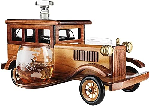 Recipiente De Vidrio Para Whisky, Juego De Decantador De Whisky De Coche Antiguo, Con Vaso De Vaso De Whisky De 2 Onzas, Espita De Decantador De 1000 Ml.