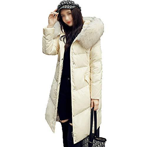 HYWZQ Frauen Langer Daunenmantel mit Pelz Hood Dickere Winter-Slim Down Lammy Jacke Lang Parka Wattierte Jacke Weißen Duck Down Kleidung,Beige,M