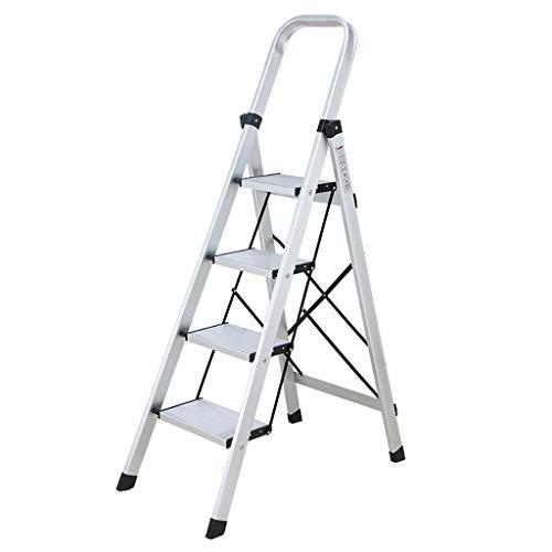 Stepladder aluminium ladder, 4 treden, inklapbaar, draagbaar, veelzijdig inzetbaar voor binnen en buiten, uittrekbare ladder 150 kg, gemakkelijk op te bergen/te vervoeren, voeten  Oro rosa + oro rosa